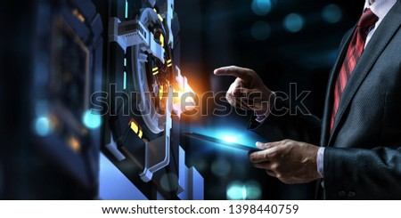 Hand and technology managing concept. Mixed media. #1398440759