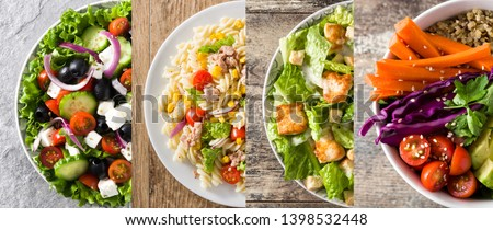 Collage of healthy salad. Greek salad, Pasta salad, Caesar salad and Buddha bowl #1398532448