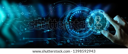 Hand working with Technical Support and Customer Service Business Technology Internet Ui. Royalty-Free Stock Photo #1398592943