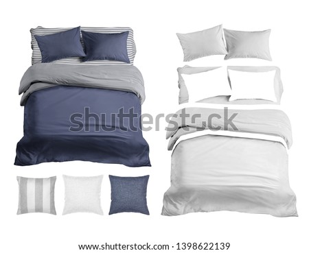 Set of bedding items mockup. Bed linen top view. White bed isolated. Blue and gray bed linen. Pillows, duvet and bed sheet. #1398622139