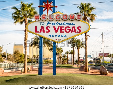 LAS VEGAS, USA - APRIL 15, 2019: Image of the famous Las Vegas welcome sign. A big tourist attraction and must see thing to do for holiday makers. No People. Copy Space #1398634868