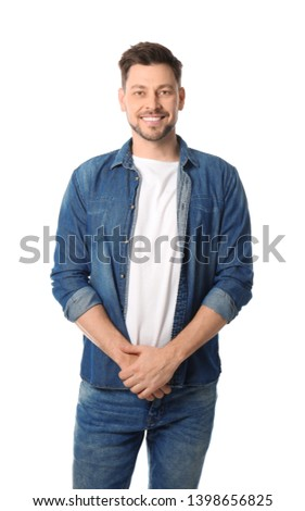 Portrait of handsome man posing on white background #1398656825