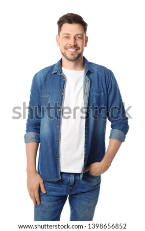 Portrait of handsome man posing on white background #1398656852
