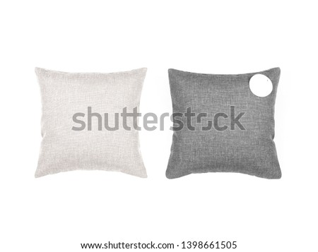 Two cushions with empty label isolated. Gray and beige pillows on the white background. #1398661505