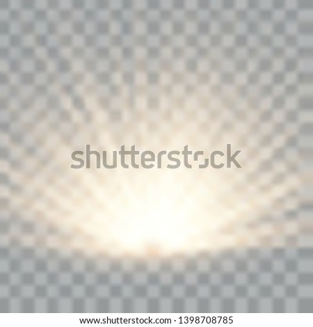 Light flare special effect with rays of light and magic sparkles. Glow transparent vector light effect. Sun.  #1398708785