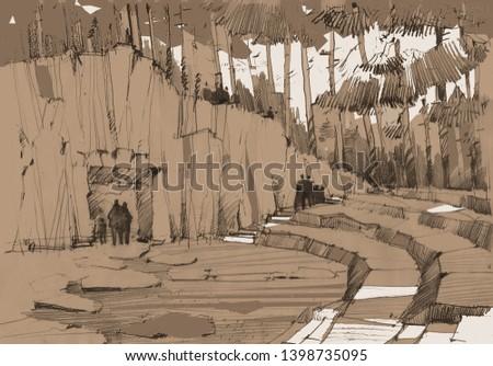 Ancient rock  Eco park Amphitheater Landscape Ecology Outdoor activities Tree silhouette Stones  #1398735095