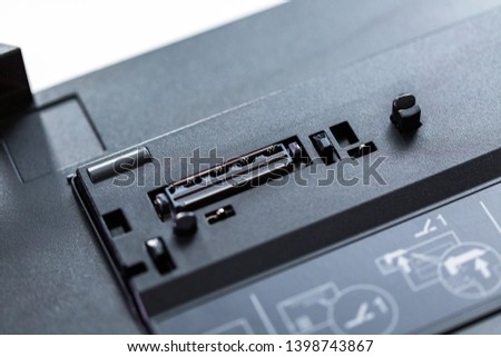 Close up of black notebook docking stations. #1398743867