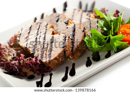 Meat with Fresh Salad Leaves and Balsamic Sauce #139878166