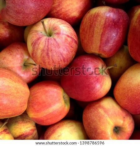 Macro Photo food fruit apples. Texture of ripe juicy red apples.