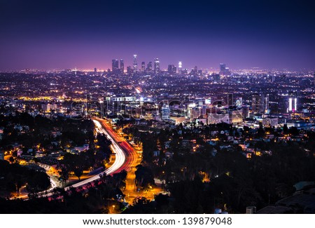 View of Downtown Los Angeles from the Hollywood Hills.  Interstate 101 is shown in the foreground.
