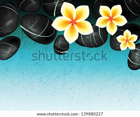 Spa background with stones and flowers. Raster version of vector illustration