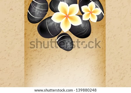 Spa background with stones and frangipani flowers . Raster version of vector illustration