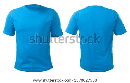 Blue t-shirt mock up, front view, isolated on white. Plain blue shirt mockup. Tshirt design template. Blank tee for print #1398827558