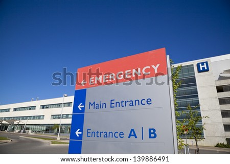 Modern hospital and sign with clear blue sky taken in Brampton Ontario Canada
