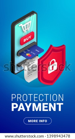 Online payment protection vertical web banner design concept. Safety and security buy Isometric template with creative smartphone integrated ATM behind the shield, text and button. Vector illustration #1398943478