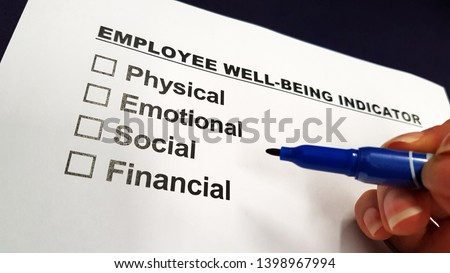 Employee well-being and wellness indicator checklist Royalty-Free Stock Photo #1398967994