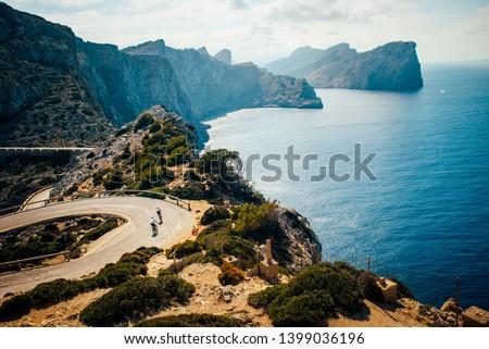Cap de Formentor. Famous Cycling road at Mallorca, Majorca, Spain. #1399036196