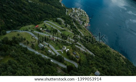 Eagle's Road (Ørneveien) mountain road in Norway, aerial view #1399053914