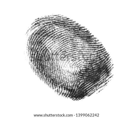 Black fingerprint on white background. Friction ridge pattern #1399062242