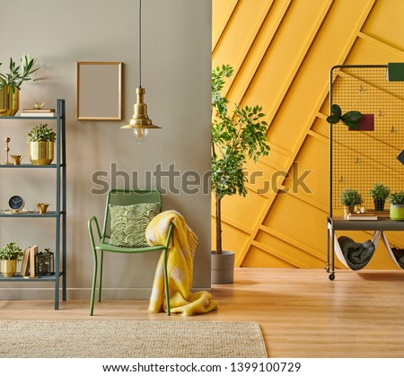 Modern room interior concept, grey bookshelf, gold lamp and frame close up, green metal chair with pillow and blanket style, brown and yellow decorative wall. #1399100729