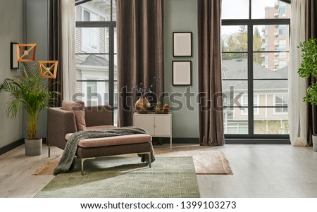 Grey living room with window concept curtain and garden view. Grey sofa carpet and chair decoration. home design modern room frame. #1399103273