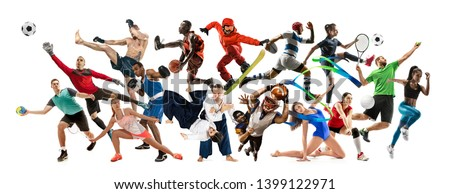 Sport collage. Tennis, running, badminton, soccer and american football, basketball, handball, volleyball, boxing, MMA fighter and rugby players. Fit women and men standing on white background #1399122971