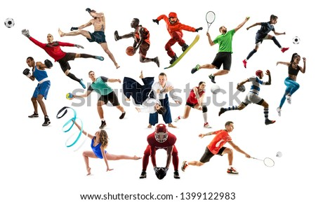 Sport collage. Tennis, running, badminton, soccer and american football, basketball, handball, volleyball, boxing, MMA fighter and rugby players. Fit women and men isolated on white background #1399122983