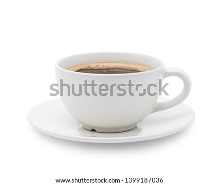 White cup of black coffee isolated on white background with clipping path #1399187036