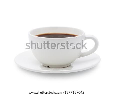 White cup of black coffee isolated on white background with clipping path #1399187042