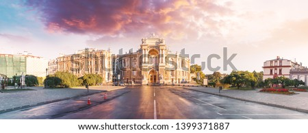 Beautiful panorama of Odessa, Ukraine. Odessa State Academic Opera and Ballet Theater. Odessa Opera and Ballet Theater at sunset with a beautiful colorful sunset sky. Cultural Center on the Black Sea #1399371887