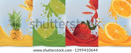 Fruit juice, pineapple, lime, orange, strawberry. Fresh fruits. Fruit splashes close up. 3d vector illustration. #1399410644