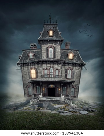 Haunted house on the empty field Royalty-Free Stock Photo #139941304