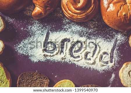 Food concept. Different type breads. Top view. Free space for text. Copy space #1399540970