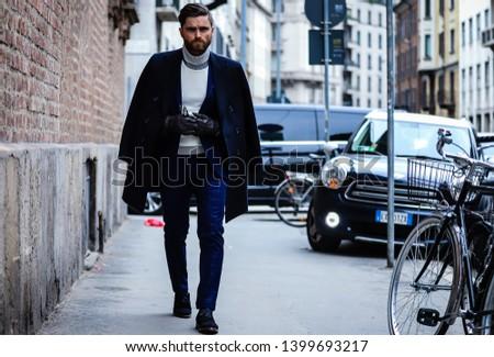 MILAN, Italy- February 23 2019: Niccolo' Cesari on the street during the Milan Fashion Week. #1399693217