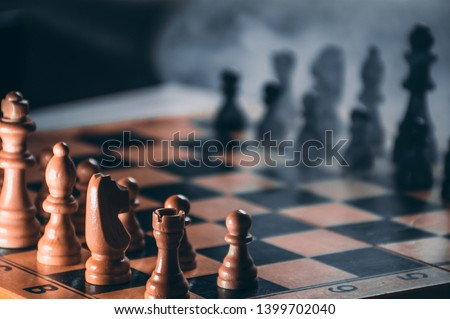 Full chess board. Close up of figurines #1399702040