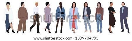 Street fashion vector illustration with different people wearing stylish clothes. Minimalistic drawing style. Stylish clothes for cloth design. Textile print. Fashion print for any purposes #1399704995