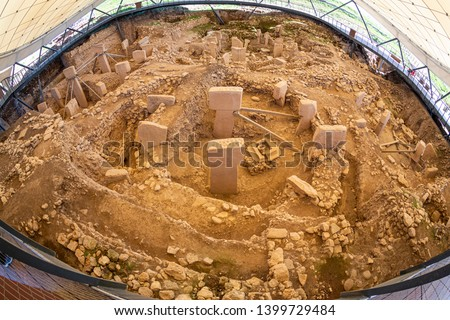 "Gobekli Tepe Turkish for ""Potbelly Hill"", is an archaeological site in the Southeastern Anatolia. 12 thousand years ago. Gobeklitepe archaeological site Sanliurfa/Turkey. #1399729484"