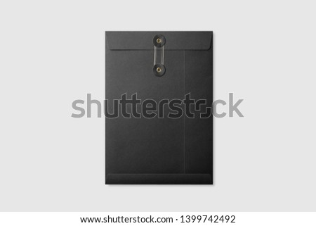 Real photo, black paper A4/C4 size string and washer envelope mockup template, isolated on light grey background. High resolution. Royalty-Free Stock Photo #1399742492