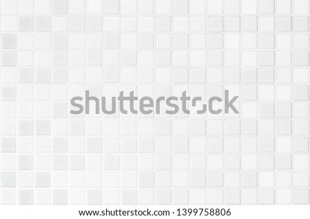 White or gray ceramic wall and floor tiles abstract background. Design geometric mosaic texture for the decoration of the bedroom. Simple Seamless Poly art or Hypnotic at kaleidoscope. #1399758806