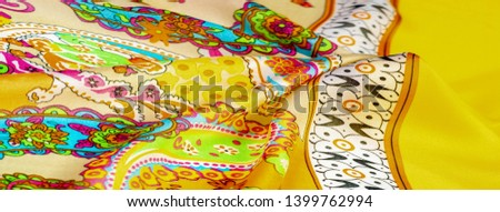 Texture, background, paisley silk fabric, Indian themes ornate traditional paisley elements with ethnic details in a bohemian print #1399762994