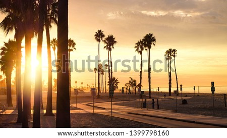 A glowing sunrise over Belmont Shore in Long Beach, California. #1399798160