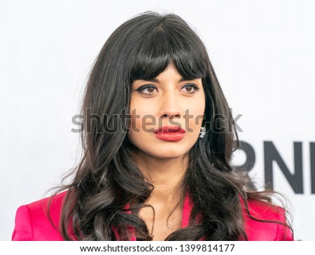 New York, NY - May 15, 2019: Jameela Jamil attends WarnerMedia Upfront 2019 arrivals outside of The Theater at Madison Square Garden #1399814177