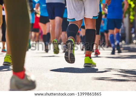 Marathon runners on the street. Healthy lifestyle. Athlete endurance  #1399861865