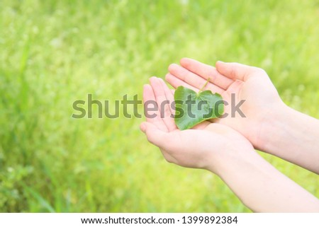 Female hands with fresh green leaf outdoors. Eco concept #1399892384