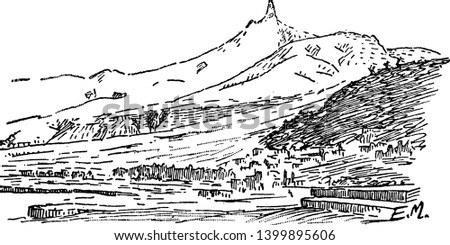 Mount Pele on Martinique which is a French overseas department, vintage line drawing or engraving illustration. #1399895606