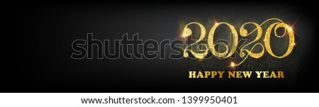 Happy new year 2020 banner.Golden Vector luxury text 2020 Happy new year. Gold Festive Numbers Design. Happy New Year Banner with 2020 Numbers