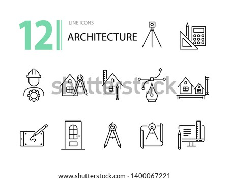 Architecture line icon set. Engineer, ruler, compass, blueprint, house. Architecture concept. Can be used for topics like building design, construction, house project Royalty-Free Stock Photo #1400067221