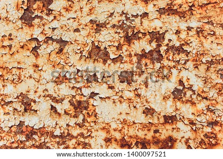Rusted white painted metal wall. Rusty metal background with streaks of rust. Rust stains. The metal surface rusted spots.metal rust texture background. #1400097521