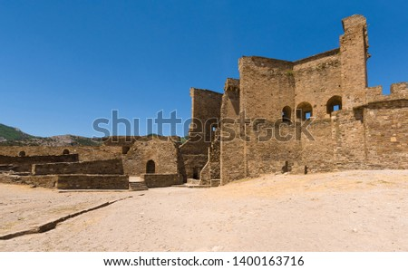 View on courtyard, towers and walls of the Genoese fortress in Sudak, Crimea #1400163716