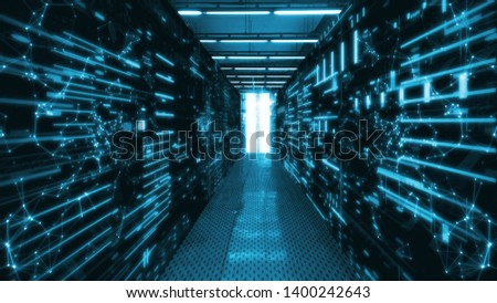 3D Rendering of data center room with abstract data servers and glowing led indicators, abstract network and ceiling lights. For Big data, machine learning, artificial intelligence concept background. #1400242643